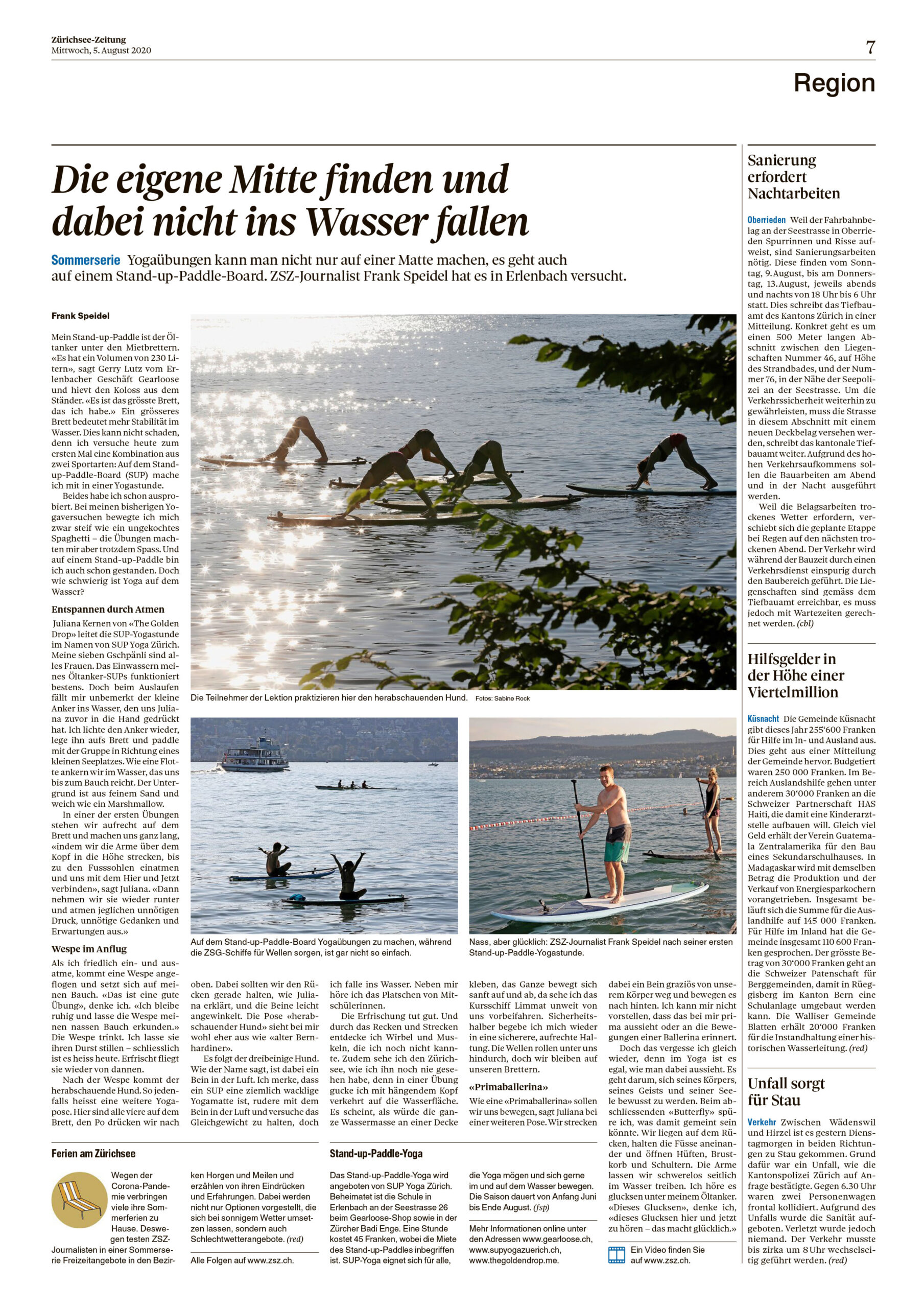 Artikel Züriseezeitung | Sup Yoga | the golden drop | die Achtsamkeitsschule | Achtsamkeit, Yoga, bewusste Entspannung