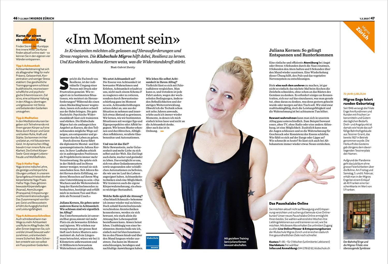 Artikel Migros Magazin Juliana Kernen Achtsamkeit | Entspannung | Meditation | Yoga | the golden drop